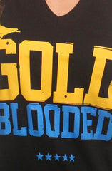 Gold Blooded (Women's Black/Royal V-Neck)
