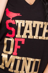 State of Mind (Women's Black/Red/Gold V-Neck)