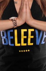 Beleeve (Women's Black V-Neck)