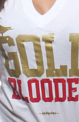 GOLD BLOODED Women's White/Gold V-Neck