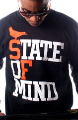 State of Mind (Men's Black/Orange Crewneck Sweatshirt)