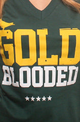 Gold Blooded (Women's Green V-Neck)