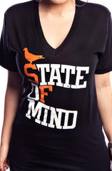 State of Mind (Women's Black/Orange V-Neck)