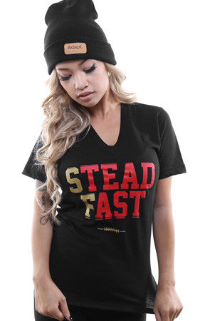 Steadfast (Women's Black/Gold V-Neck)