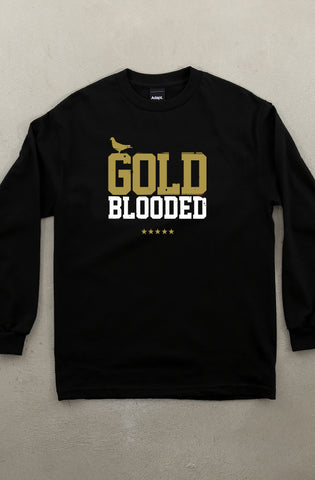 Gold Blooded (Men's Black/White/Gold Long-Sleeve Tee)