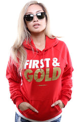 First and Gold (Women's Red/Gold Hoody)