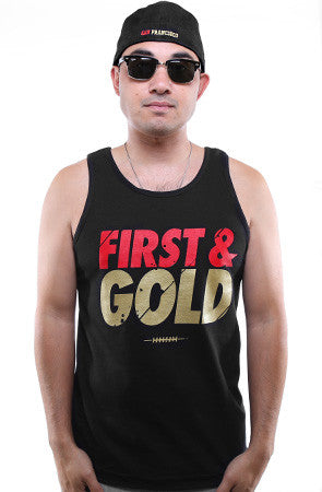 First and Gold (Men's Black Tank)