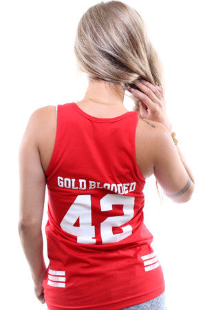 Gold Blooded Legends :: 42 (Women's Red Tank Top)