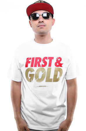 First and Gold (Men's White Tee)