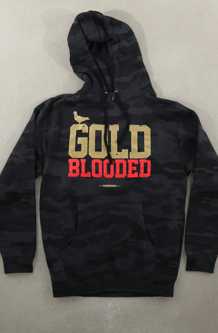 Gold Blooded (Men's Black Camo Hoody)
