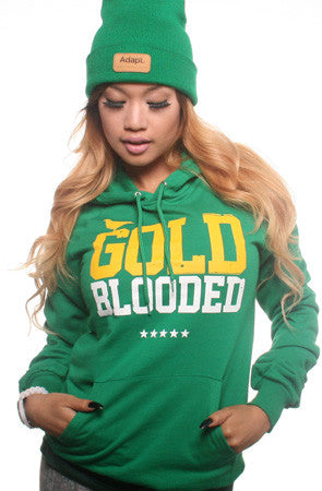 Gold Blooded (Women's Kelly Green Hoody)