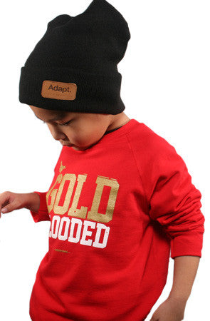Gold Blooded (Youth Unisex Red Crewneck Sweatshirt)