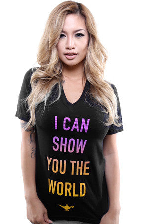 I Can Show You The World (Women's Black V-Neck)