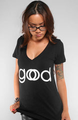 Good God (Women's Black V-Neck)