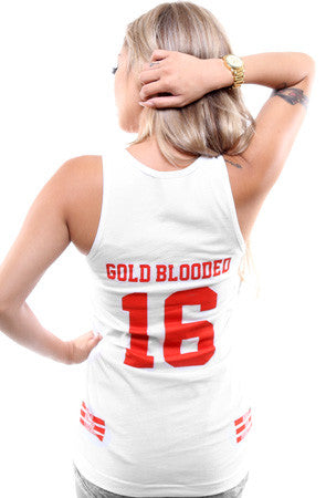Gold Blooded Legends :: 16 (Women's White Tank Top)