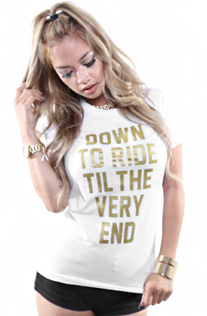 Breezy Excursion X Adapt :: Down To Ride GOLD Edition (Bonnie) (Women's White Tee)