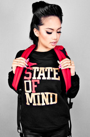 State of Mind (Women's Black/Red/Gold Crewneck Sweatshirt)