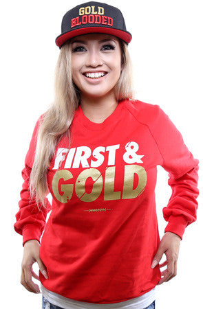 First and Gold (Women's Red/Gold Crewneck Sweatshirt)