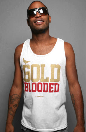 Gold Blooded (Men's White/Red Tank)