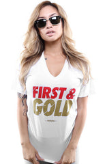 First and Gold (Women's White V-Neck)
