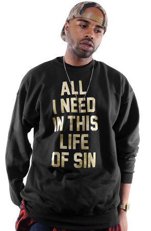 Breezy Excursion X Adapt :: All I Need GOLD Edition (Men's Black Crewneck Sweatshirt)