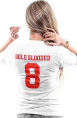 Gold Blooded Legends :: 8 (Women's White V-Neck)