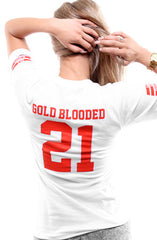 Gold Blooded Legends :: 21 (Women's White V-Neck)