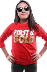 First and Gold (Youth Unisex Red Crewneck)