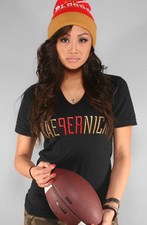 Colin Kaepernick X Adapt :: Kae9ernick (Women's Black V-Neck)