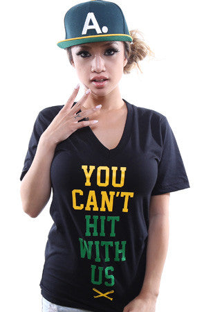 You Can't Hit (Women's Black/Green V-Neck)