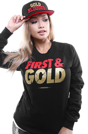 First and Gold (Women's Black/Gold Crewneck Sweatshirt)