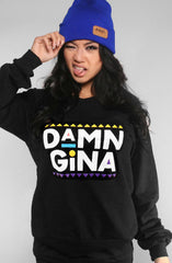 Damn Gina (Women's Black Crewneck Sweatshirt)