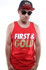 First and Gold (Men's Red Tank)