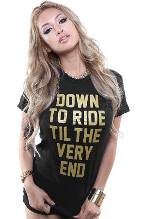Breezy Excursion X Adapt :: Down To Ride GOLD Edition (Bonnie) (Women's Black Tee)