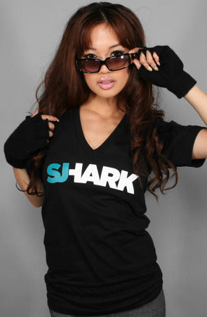 Breezy Excursion X Adapt :: Shark (Women's Black V-Neck)