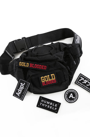 Tony (Black Waist Pack / Travel Bag + Patch Bundle)
