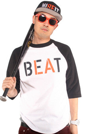 Beat LA (Men's White/Black Raglan Tee)