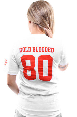 Gold Blooded Legends :: 80 (Women's White V-Neck)