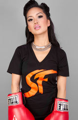 ES EF (Women's Black/Orange V-Neck)
