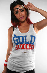 GOLD BLOODED Stars and Stripes Edition Women's White Tank Top