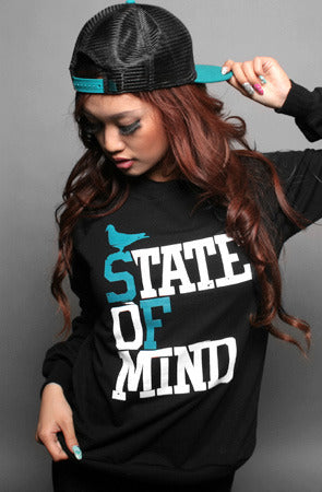 State of Mind (Women's Black/Teal Crewneck Sweatshirt)