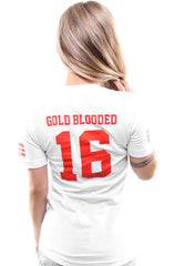 Gold Blooded Legends :: 16 (Women's White V-Neck)