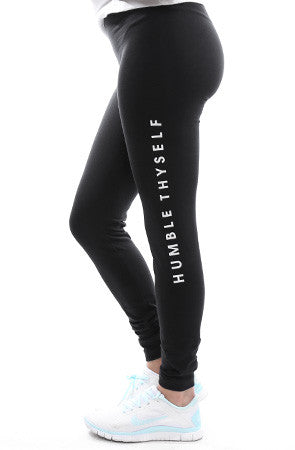 Humble Thyself (Women's Black Leggings)