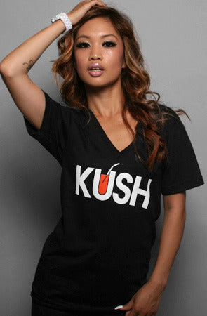 Kush (Women's Black V-Neck)