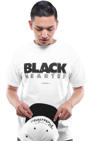 Black Hearted (Men's White Tee)