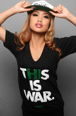 This Is War (Women's Black V-Neck)