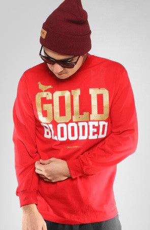 GOLD BLOODED Men's Red/Gold Long Sleeve Tee