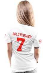 Gold Blooded Legends :: 7 (Women's White V-Neck)