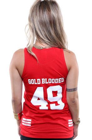 Gold Blooded Legends :: 49 (Women's Red Tank Top)