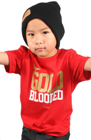 Gold Blooded (Youth Unisex Red Tee)